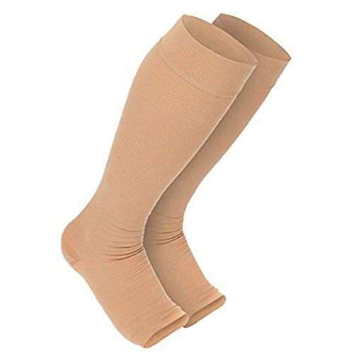 MadeMother Maternity Compression Stockings - Open Toe Socks Beige 1 Pair