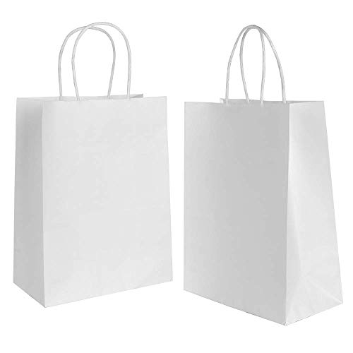 Gaoyong 30 Stk Papiertüten Weiß mit Henkel 5.91×3.15×8.27inch Geschenktüten,Papiertragetaschen Für Lebensmittel Backen Merchandise Boutique Einzelhandel (verdicken 130gsm)