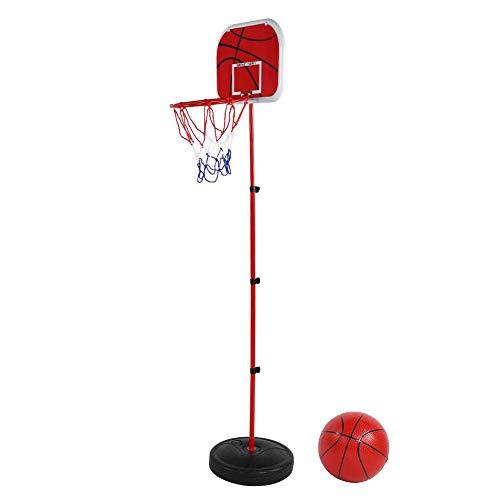 VGEBY1 Basketballständer Set, Kinder Basketballkorb Kit Rückwand mit Sockel, Eisenstange, Basketball, Reifen und Netz, Pumpe Basketballkorb Verstellbar für Indoor Outdoor