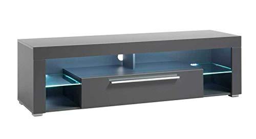 TV-Lowboard Fernsehschrank Fernsehtisch   Dekor   Grau Matt   1 Klappfach   LED-Beleuchtung