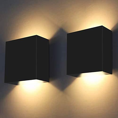 Applique da Parete Interno Moderne, ShuBel Lampade da Parete LED, Bianco Caldo 3000K ,Applique in metallo,Su e giù per Lampade da Muro Per Soggiorno, Corridoio, Camera da Letto (2 Set Nero)