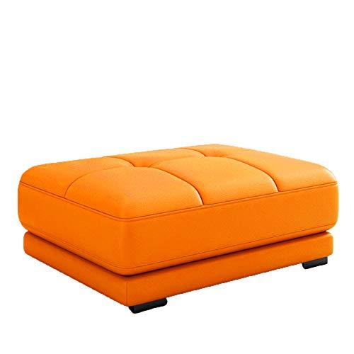 DXX-HR Taburete de Cuero Genuino para sofá,Taburete para Sala de Estar,Taburete otomano para Cambio de Zapatos,Taburete para guardarropa,Taburete para sofá con Pedal Plegable