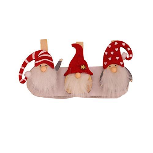 Uticon Weihnachtsklammer aus Holz, 3 Stück, Weihnachtsmann-Zwerg Elch Weihnachtsbaum DIY Foto Karte Clip Xmas Party Decor – 1