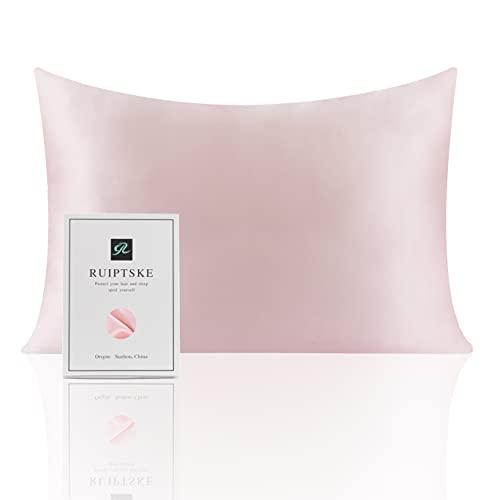 Funda de Almohada de Seda Natural, hipoalergénica, 22 Momme, 100% Seda, 600 Hilos, tamaño estándar 50 x 75 cm, con Cremallera Oculta (Pink)