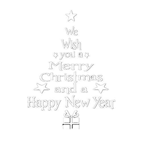 Lunule Árbol de navidad letras palo pared Decoración del hogar Ventanas de navidad Pegatinas Papá Noel reno...