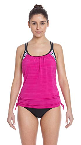 ZeroXposur Womens Tankini Swimsuits Ruched Top Brief Bikini Bottoms Set (Soundwave/Magenta, Small)