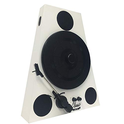 Easygoproducts Vertical Bluetooth Turntable – 3 Speed Record Player – Auto Stop Feature – Amplified Triple Built-in Stereo Speakers – Headphone Jack Input and RCA Outputs - White
