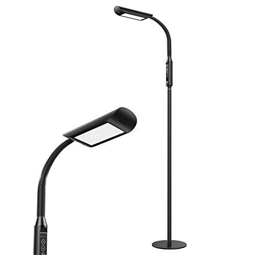TaoTronics TT-DL060 LED Lamp 1815 Lux & 50,000 Hours Lifespan, Dimmable Standing Floor Light, Flexible Gooseneck, Touch Control Panel, 12W, Black