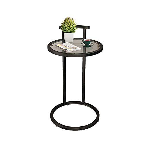 HAIZHEN Nordic Small Round Side Table,Iron Frame And Clear Glass Top Sofa End Table With Handle And Non-slip Mat (Color : Black-2)