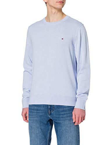 Tommy Hilfiger Organic Cotton Blend Crew Neck Sweater, Bleu sucré, M Homme