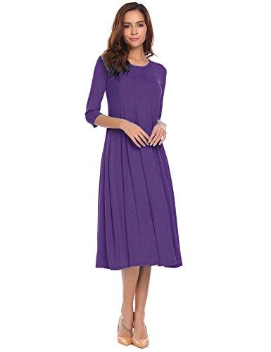 Misakia Women's Plus Size Quarter Sleeve Loose Fit Maxi Dress Tunic (Purple, XXL)