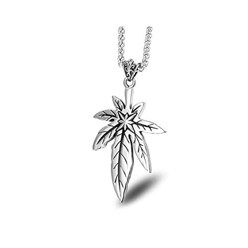 MINGDIAN Collier de Fleur de Riz en Feuille dérable en Acier au Titane rétro Pendentif chaîne de Chandail pour Femme à la Mode