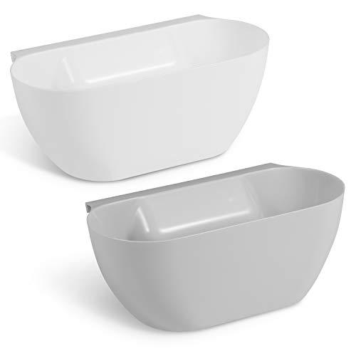 Supremery 2X Auffangschale für Küchenabfälle zum Einhängen - 2er Set Mülleimer Abfall Behälter für Bio Müll - Abfalleimer in Grau Weiß