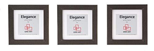GR8! Art Elegance - Echtholz 3er Set Bilderrahmen klein schwarz 10 x 10 cm oder 8 x 13 cm – Fotorahmen aus Holz in schwarz mit Plexiglasscheibe, Metall-Aufhängung & Passepartout.