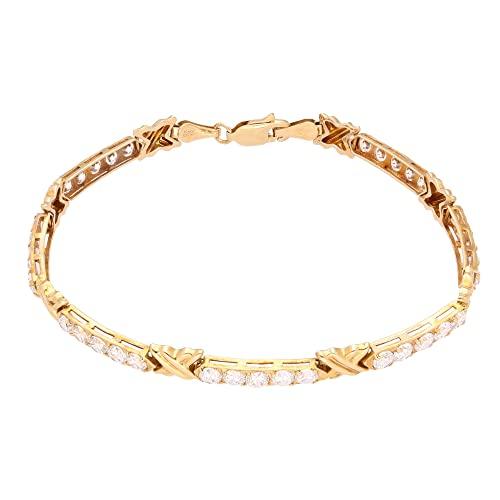 Jollys Jewellers Pulsera de tenis de diamantes de imitación de 18,2 cm de oro amarillo de 14 quilates (5 mm de ancho)