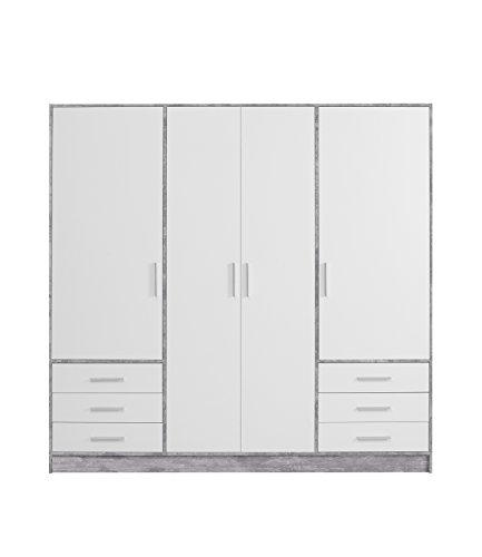 FORTE Jupiter Kleiderschrank 4-türig, 6 Schubkästen, Holz, betonoptik / weiß, 206.5 x 60 x 200 cm