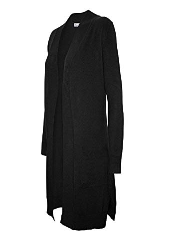 CIELO Women's Long Sleeve Sweater Duster Cardigan, Black, Small