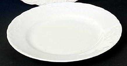 Preisvergleich für 6 Kuchenteller Teller flach 21cm Rocaille Weiss Neu Relief Rund Porzellan 6 Personen