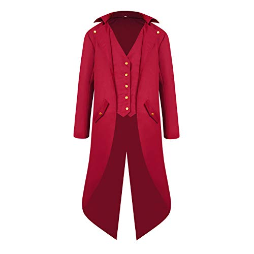Men's Loose Fit Red Tailcoat Jacket Showman Costume Ringmaster Jacket Tuxedo Medieval Gothic Renaissance Costume