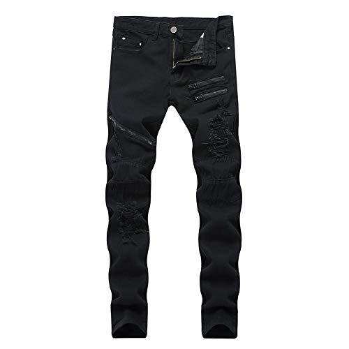 LONGBIDA Men's Ripped Skinny Holes Hip Hop Biker Stretchy Slim Fashion Jeans(Black,34)