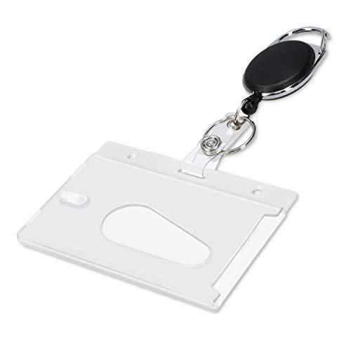 kwmobile Llavero retráctil con funda para tarjeta de identificación - Colgante con cable extensible - Mosquetón con soporte para tarjeta - Negro