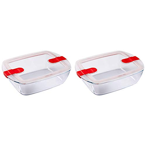 Pyrex - Plato rectangular con tapa de ventilación (2,5 L, 2 unidades), color rojo