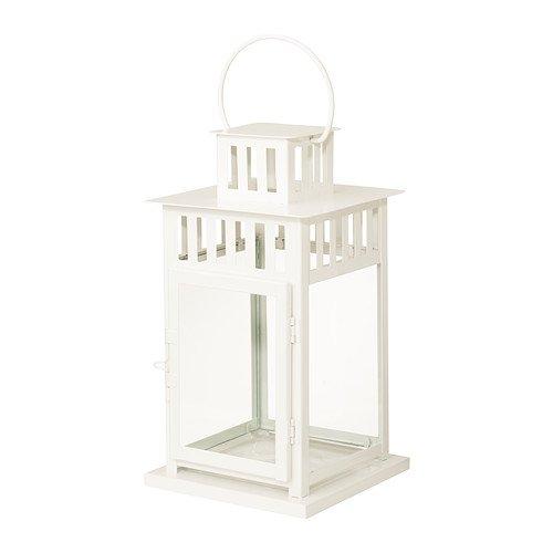 Ikea BORRBY Laterne für Blockkerze, weiß / außen weiß - 28 cm