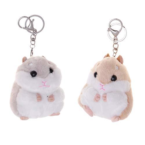 NUOBESTY 2 Stück Plüsch Schlüsselbund Hamster Form Kuscheltiere Schlüsselring Charme Handtasche Anhänger für Telefon Rucksack Geldbörse Schlüssel Geburtstagsgeschenke
