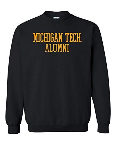 CreateMyTee | Michigan Tech Alumni Text One Color Crewneck Sweatshirt | (Black, X-Large)