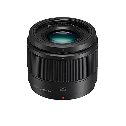 Panasonic Lumix 25mm F1.7 | Objectif à focale fixe H-H025E-K (Grand angle 25mm, Grande ouverture F1.7, Ultra compact, equiv. 35mm : 50mm) Noir – Compatible monture Micro 4/3 Panasonic & Olympus