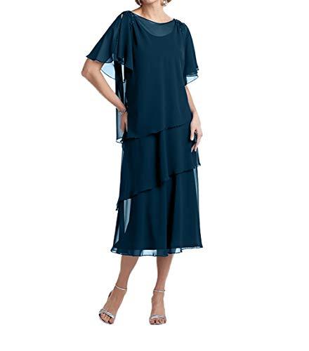 Charmant Damen Dunkel Blau Wadenlang Etuikleider Abendkleider Brautmutterkleider Langarm Partykleider Kurz-52 Dunkel Blau