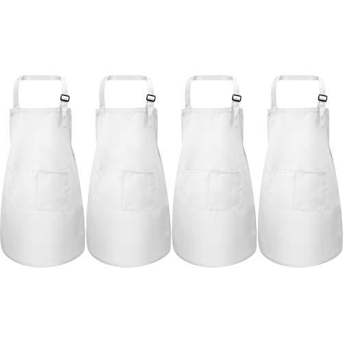 Yaomiao 4 Stücke Kinderschürze mit Tasche Kinder Verstellbare Kochschürze zum Kochen Backen Malerei (Weiß S für 2-6 Jahre)