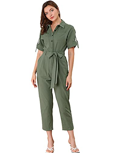 Allegra K Women's Short Sleeve Coverall Button Up Tie Waist 100% Cotton Cargo Jumpsuit with Pockets X-Small Green