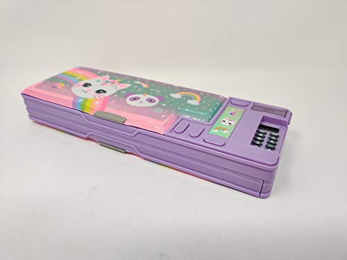Hot Focus Caticorn Multifunction Pencil Case, Pencil Box with 2 Compartments for Girls. A Unique Stationery Set with Pop Out Calculator and Pencil Sharpener. Best Back to School Gift Set for Girls