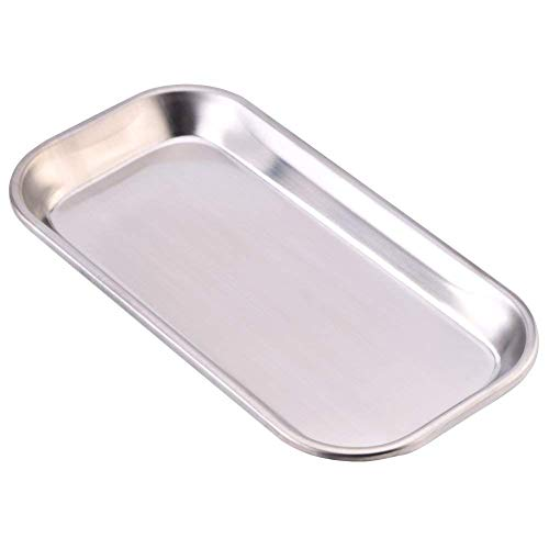 Bandeja dental 201 de acero inoxidable para instrumentos médicos, herramienta útil para laboratorio clínico, fácil de limpiar (8,85 x 4,52 x 0,78 pulgadas en tamaño)