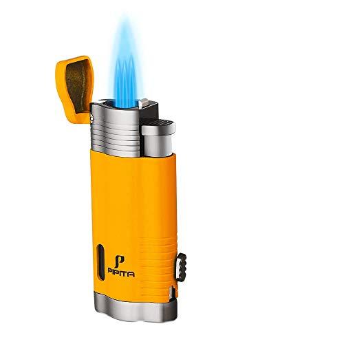 PIPITA Winddicht Zigarren Feuerzeuge Sturmfeuerzeug 3 Taschenlampe Jet Blauer Flammen Gas Nachfüllbar Metall Feuerzeuges mit Bohrer gelb (Verkauft ohne Gas)