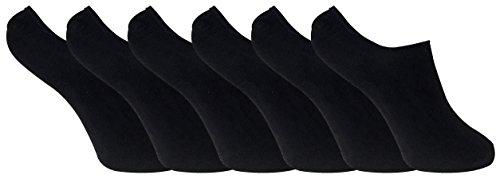 6 paar damen bambus unsichtbar anti schweiß sneaker socken/füßlinge mit silikonferse (37-41 eur, BNSTL Black)