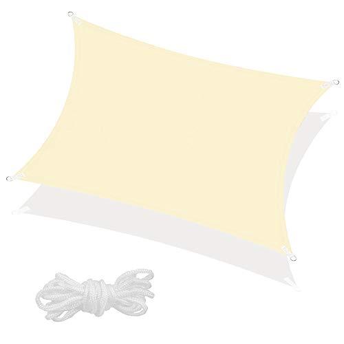 SPRINGOS Sonnensegel inkl. Abspannleine wasserabweisend Sonnenschutz Schattensegel Segeltuch für Garten Terrasse Balkon Patio Wetterschutz Windschutz Beschattung Schattenspender (Ecru Rechteck 3x2 m)