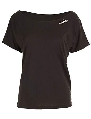 Winshape Damen Ultra leichtes Modal-Kurzarmshirt MCT002, Dance Style,Fitness Freizeit Sport Yoga Workout, Schwarz, M