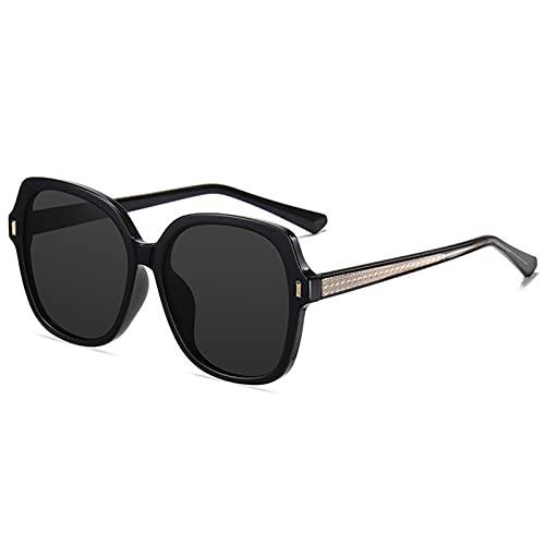 ZKP Gafas de sol de moda retro, adecuadas para mujeres, gafas de sol redondas UV400, lentes de resina 4 colores disponibles (color: negro marco gris pieza)