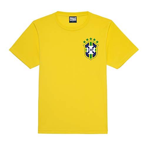 Print Me A Shirt Camiseta Fútbol Personalizable para Niños de la Selección Brasileña, Camiseta Amarilla Brasil, Camiseta de fútbol Brasil