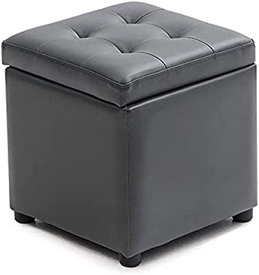 Ottoman Stool Footstool Storage Ottoman Box Change Shoe Stool Upholstered Footrest Linen Fabric Seat Makeup Stool for Hallway Living Room,Gray (Size : 40 * 40 * 40cm)