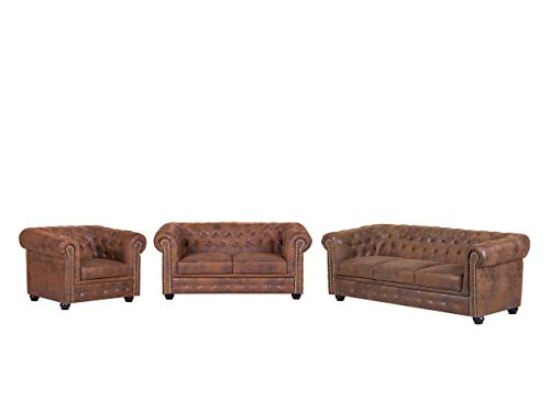 Mirjan24 Polstergarnitur Cherry 3+2+1, Sessel + Zwei Sofas, Antik Look Bürosofa, Wohnlandschaft, Retro Couch, Wohnzimmer-Set, Couchgarnitur, Sofagarnitur,...