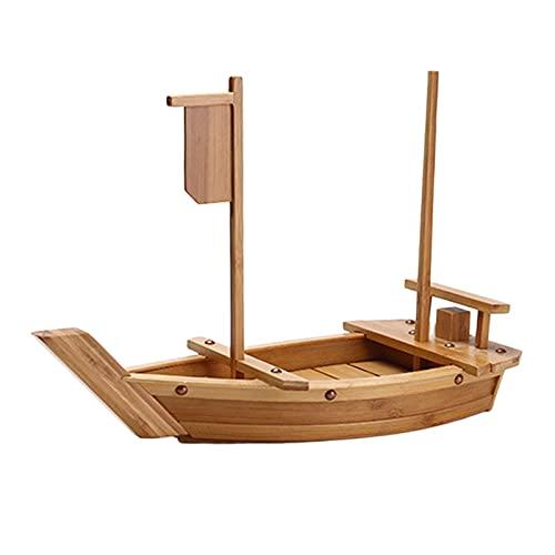 Fenteer Placa de Barco de Sashimi de Madera Japonesa para Comedor, vajilla Decorativa, exhibición de Fiesta, Placa de Modelo de Barco - Madera Blanca