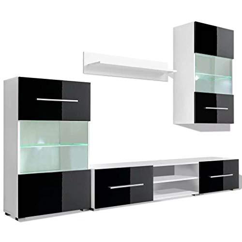 Tidyard Mobile Soggiorno/unità Mobile Vetrina TV a Parete Illuminazione LED, Parete Attrezzata, Mobile Soggiorno Moderno, Nero 5 Pz