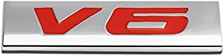 UrMarketOutlet V6 Red/Chrome Aluminum Alloy Auto Trunk Door Fender Bumper Badge Decal Emblem Adhesive Tape Sticker