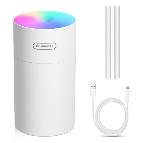 Luftbefeuchter, USB Ultraschall Humidifier mit 270ml Wassertank, Aromazerstäuber , Wasserlose Abschaltautomatik , Super leise, Bunter Cooler Nachtlichtfunktion für Auto, Büroraum, Schlafzimmer (Weiß)