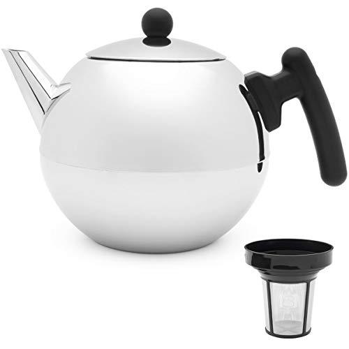 Bredemeijer Teekanne Edelstahl Set glänzend 1,2 Liter Griff schwarz doppelwandig mit Teefilter-Sieb