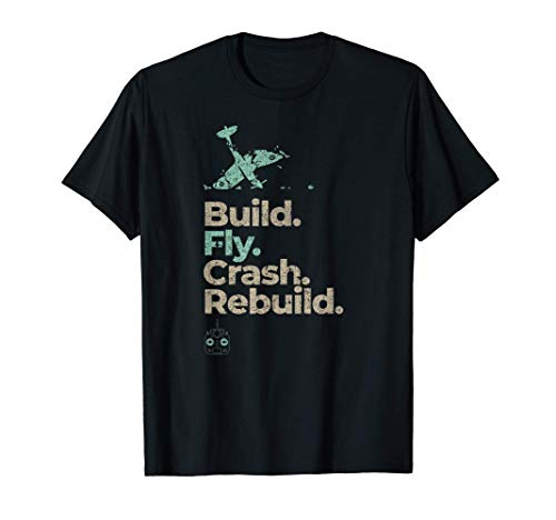 Vintage RC Plane Gifts Build Fly Crash Rebuild Airplane T-Shirt