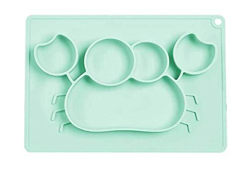 Kidoo - Plato Infantil de Silicona - Vajilla de Bebé Antideslizante   100% Libre de BPA - Aprobado por la FDA - Base Adherente - Apto para Lavavajillas y Microondas - No Tóxico (Verde, Cangrejo)